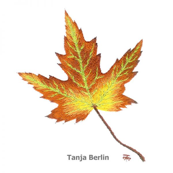 Needle painting maple leaf berlin embroidery designs