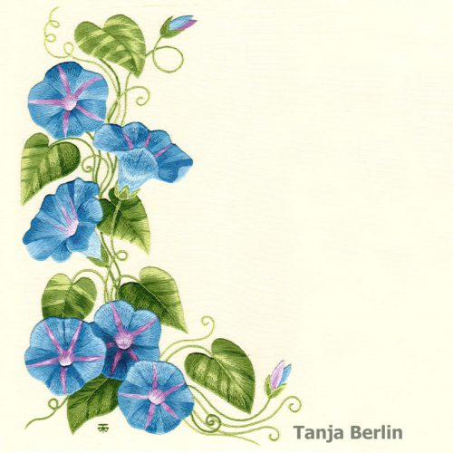 Morning Glories Needle Painting
