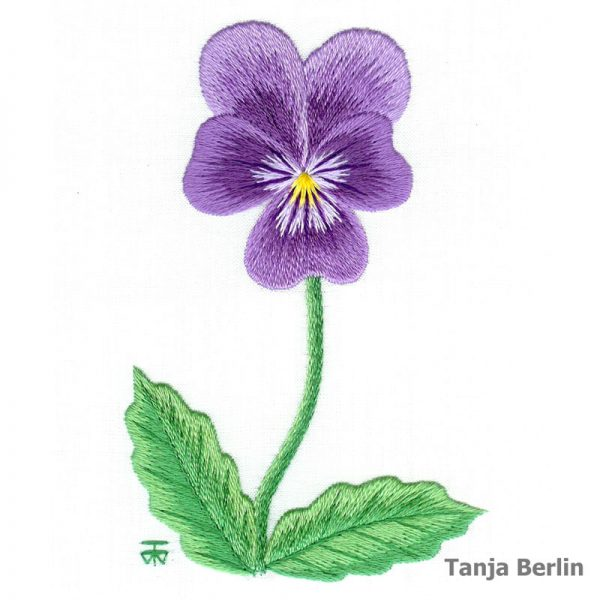 Purple Pansy Embroidery